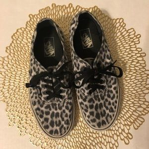 Vans Black and White Leopard Sneakers